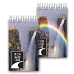 Lenticular mini notebook with mystical rainbow appears in front of a tropical Hawaiian cliff waterfall