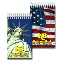 Lenticular mini notebook with Statue of Liberty and USA American flag, flip