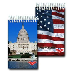 Lenticular mini notebook with Washington, DC capitol building and USA American flag, flip