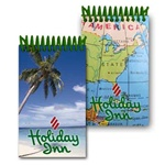 Lenticular mini notebook with tropical Florida palm tree on white sand beach, map of eastern United States USA, flip