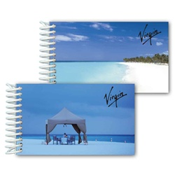 Lenticular mini notebook with relaxing cabana with rum drinkers, tropical Hawaiian white sand beach, flip