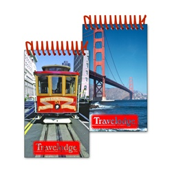 Lenticular mini notebook with San Francisco trolley cable car, Golden Gate Bridge, flip
