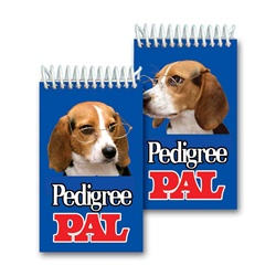 Lenticular mini notebook with Beagle puppy dog wearing glasses tilts it head and floppy ears side to side, flip