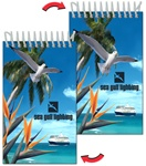 Lenticular mini notebook with white seagull swoops past a palm tree, bird of paradise, and cruise ship on a tropical Hawaiian beach