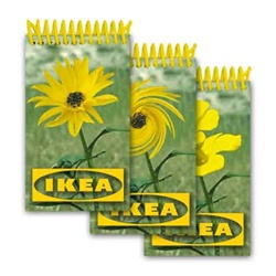 Lenticular mini notebook with yellow flower in a green field changes to a different sunflower, animation