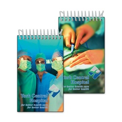 Lenticular mini notebook with three surgeons in hospital, surgery in progress with scalpel, flip