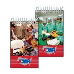 Lenticular mini notebook with group of surgeons and nurses in hospital, stand over operating table, flip