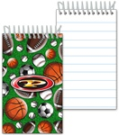 Lenticular mini notebook with baseballs, soccer balls, futbols, basketballs, and American footballs, depth