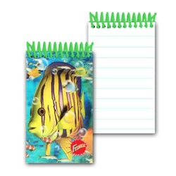 Lenticular mini notebook with tropical Hawaiian angel fish among a school of colorful companions and coral, depth