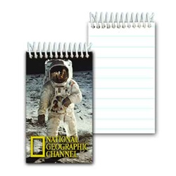 Lenticular mini notebook with NASA explorer astronaut stands on grey dusty Moon in outer space, depth