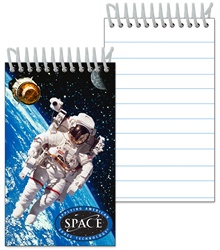 3D Notebook with NASA astronaut floats in Earth orbit with a satellite and the Moon, depth