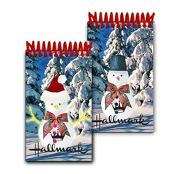 Lenticular mini notebook with Frosty the snowman switches from a top hat to a Santa Claus hat, flip