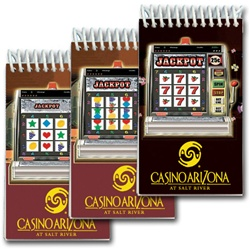Lenticular mini notebook with Las Vegas casino slot machine spins reels for a jackpot, animation
