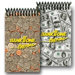 Lenticular mini notebook with USA American money, currency, dollars and coins, flip