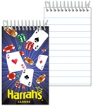 3D Lenticular mini notebook with Las Vegas casino gambling cards, dice, and chips, depth