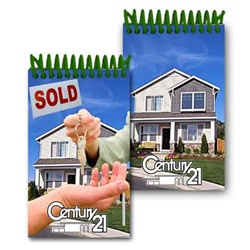 Lenticular mini notebook with real estate realtor hands sold keys to buyer of house, flip