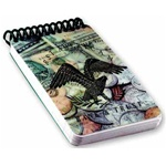 Lenticular notebook with custom design, United States of America USA bald eagle floats above a pile of money, depth