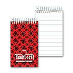 Lenticular mini notebook with red spinning wheels on white background, animation