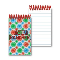 Lenticular mini notebook with red, blue, and green spinning wheels, white background, animation