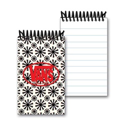 Lenticular mini notebook with black spinning wheels on white background, animation