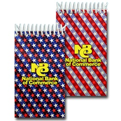 Lenticular notebook with American flag stars and stripes, red, white, and blue, color changing flip