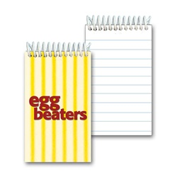 Lenticular mini notebook with yellow and white stripes, animation