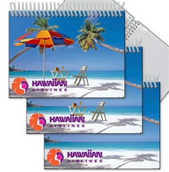 Lenticular photo album with palm trees, umbrella, and lawn chair appear on a tropical Hawaiian beach, flip