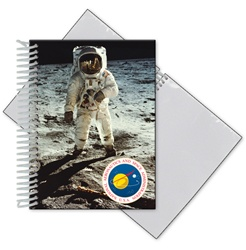 Lenticular photo album with NASA explorer astronaut stands on grey dusty Moon in outer space, depth
