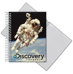 Lenticular photo album with NASA astronaut floats in Earth orbit with a satellite and the Moon, depth