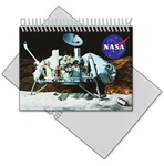 Lenticular photo album with NASA spacecraft sits on Moon's surface, samples for alien life and water, depth