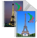 Lenticular photo album with Eiffel Tower in Paris, France, Europe at day and night, flip
