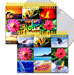 Lenticular photo album with colorful pictures of tropical Hawaiian sunsets, flowers, ocean, sail boats, and sea life, flip