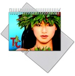 Lenticular photo album with sexy tropical Hawaiian hula girl winks her eye, animation