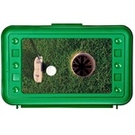 Lenticular pencil box with custom design, green hard plastic, PGA golfer putting a ball into a hole for birdie, animation