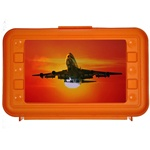 Lenticular pencil box with custom design, orange hard plastic, jumbo jet airplane taking off in front of an orange tropical Hawaiian sunset, depth