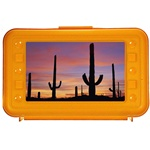 Lenticular pencil box with custom design, yellow hard plastic, Siguqaro cactii growing in the blistering Arizona summer desert, depth
