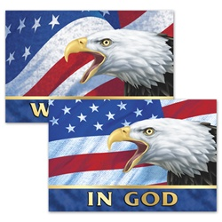 3D Lenticular Stock Postcards, 4 x6, In God We Trust, Bald Eagle and American flag