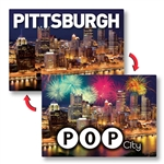 Lenticular Postcards with custom images of Pittsburgh.