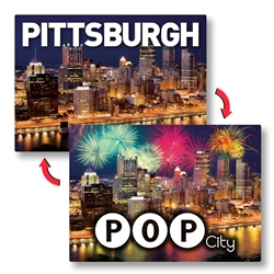 Lenticular Souvenir Postcards Printing 5 x 7 inches Pittsburgh Animated Images