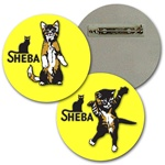 Lenticular Lapel pin with custom design, Sheba cat foot, kitten dancing with paws and tail in the air, flip