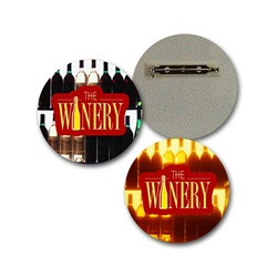 Lenticular Lapel Pin with custom design, The Winery, bottles light up in the background, flip