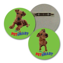 Lenticular lapel pin with custom design, Petsmart, brown shaggy dog tilts its head in front of a green background, flip