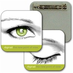 Lenticular Lapel pin with custom design, Digirad, a new point of view, beautiful green women