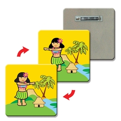 Lenticular Lapel pin rounded square Hula Girl 1 x 1