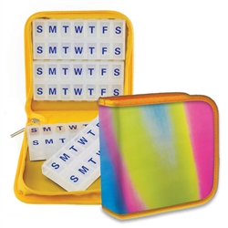 Yellow Blue Pink Pill Vitamins Organizer Case