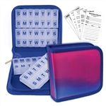 Pill Vitamin  Purple Blue Lenticular Organizer