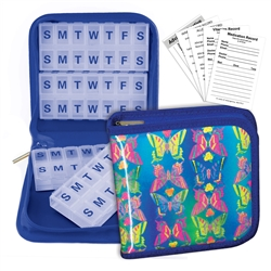 Pill Vitamin Organizer Blue Butterfly