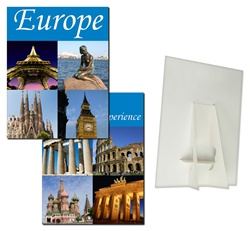 Lenticular POP sign with custom design, experience Europe, Parthenon, Coliseum, Taj Mahal, flip