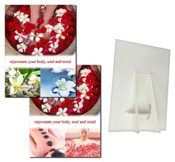 Lenticular POP sign with custom design, rejuvinate your body, mind, and soul, tropical Hawaiian lei with flowers and spa massage, flip