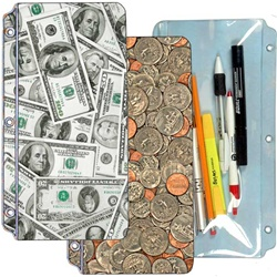 Lenticular pencil pouch with United States of America USA money, currency, dollars and coins, flip